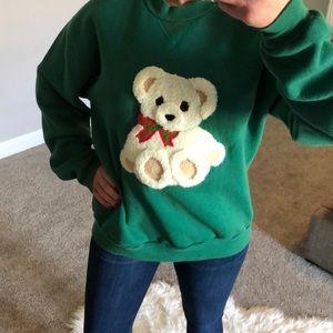 Vintage Russell Teddy Bear Novelty Grandma Sweatr